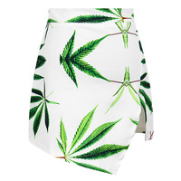 White Leaf Print Asymmetrical Mini Skirt