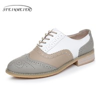 Women Genuine Leather Round Toe Handmade Flat Shoes Vintage Oxford Shoes