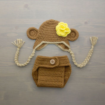 Crochet Monkey Baby Costume, Crochet Monkey Costume, Newborn Costume, Crochet Costume, Crochet Monkey Hat, Newborn Photo Prop, Diaper Cover