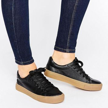 New Look | New Look Contrast Flatform Leather Look Sneaker at ASOS