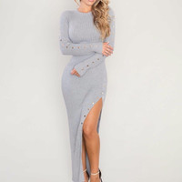 Long Gray Long Sleeve Maxi Bodycon Sweater dress with high splits.