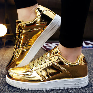 Mens Women Casual Shoes Fashion PU Leather Solid Flat Comfortable Breathable Basket Superstar Trainers Zapatillas Hombre Gold
