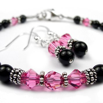 Black Pearl Pink Tourmaline October Swarovski Crystal Birthstone Beaded Bracelets & Earrings Set