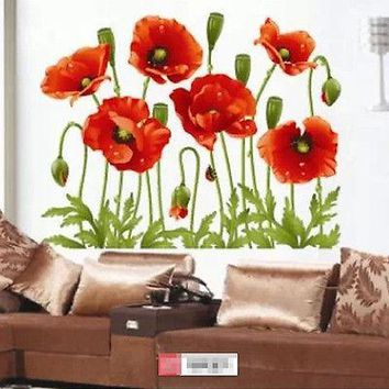 Fashion Red Flower Sticker Removable Wall Art Stickers Vinyl Decal Mural Home Decor