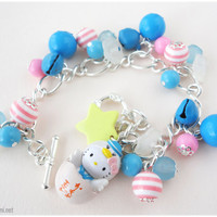 Hello Kitty Sailor Bracelet, Pink and Blue Striped Charms on Ornate Silver Plated Chain - Oshare Kei, Kawaii