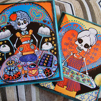 Kitchen Catrinas Wall Hanging Plaque Set 2 Day of the Dead Skeleton on Wood.  Accent Art Home Decor Baking Bakery gift for her