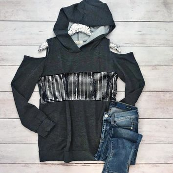 Charcoal Sequin Cold Shoulder Hoodie