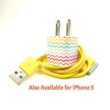 Multi Colored ZigZag iPhone Charger Decorated with Personality- Comes with a Colored USB Cable