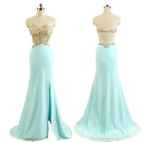 Elegant Mint Lace Mermaid Prom Dresses Evening Gown = 1958380740