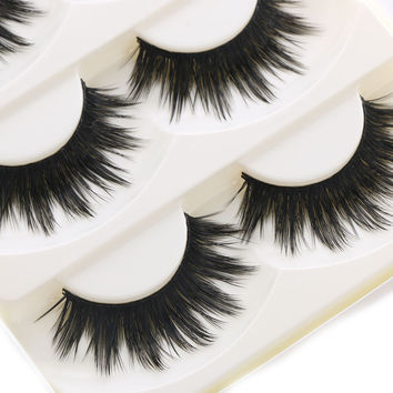 5 Pairs Of Women Makeup Thick False Eyelashes