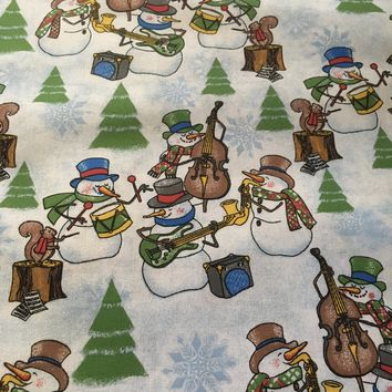 Christmas Cheer - Snowman Band - Cotton Fabric from Santee Prints - by the 1/2 yard