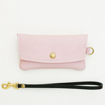 Pale Pink Leather Iphone Wristlet and Wallet Combination, Cell Phone Wristlet and Wallet, Cell Phone Pouch