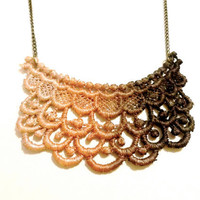 Lace Necklace Hand Painted in Ombre Brown Copper Cream - Customizable Colors