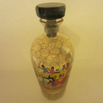 Bohemian Glass Decanter Scripted Equestrian Black Crystal Stopper