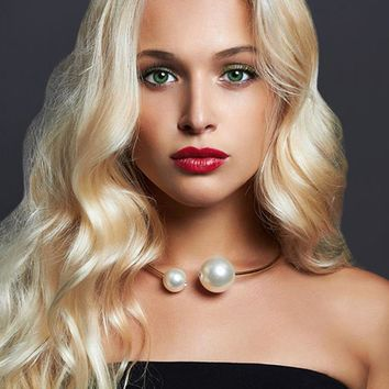 KMVEXO Exaggerated Gold Color Big Simulated Pearl Necklace For Women 2018 Fashion Gothic Torque Statement Jewelry Punk Chokers