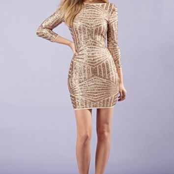 Sequined Abstract-Patterned Dress