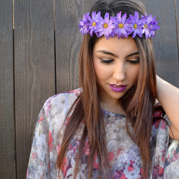 Flower Headband - Daisy Headband - Purple Daisies - Hippie Headband - Festivals - Raves - Summer Fashion