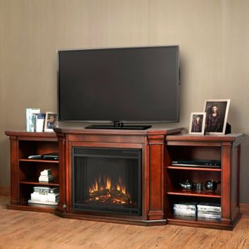Valmont Entertainment Electric Fireplace in Dark Mahogany Finish