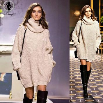 ALINRY 2017 winter women sweaters and pullovers turtleneck bodycon dress long sleeve knitted sweater plus size oversized sweater