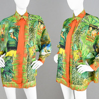 Vintage 90s GIANNI VERSACE Couture Versace Silk Shirt Rare Tarzan Print Italian Designer Shirt Oversized Blouse Jungle Print Made in Italy