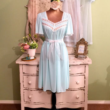 Darling Cupcake Nightie Set, Princess Baby Doll, Chic Shabby Lingerie, Vintage Nightgown Set, Pin Up Lingerie, Wedding Bridal Peignoir,  M/S