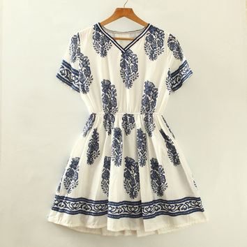 Summer Women's Fashion Slim V-neck Short Sleeve Print One Piece Skirt One Piece Dress [4919330436]