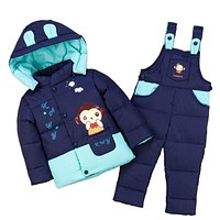 Baby boys clothing sets baby Girl Ski suit sets child Outdoor sport Kids down coats Jackets+trousers Jumpsuit