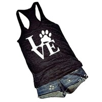 Hot Sale Popular Women's Tank Tops Bear Paw LOVE Vest Black and White