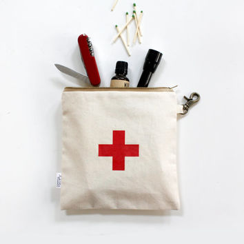 First Aid Canvas Utility Zipper Pouch, Swiss Cross, Men, Pouch, Unisex, Organizer, Travel Bag, Women
