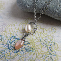 Peach Moonstone Oval Pearl Oxidized Sterling Silver Necklace, Gemstone Pendant, Rustic Jewerly