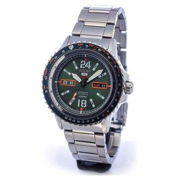 Seiko SRP349 Men's 5 Sports Green Dial Stainless Steel Automatic Watch