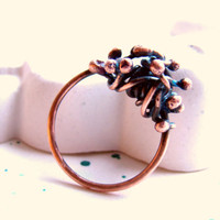 "Copper Ring ""Seaweed"" For her"