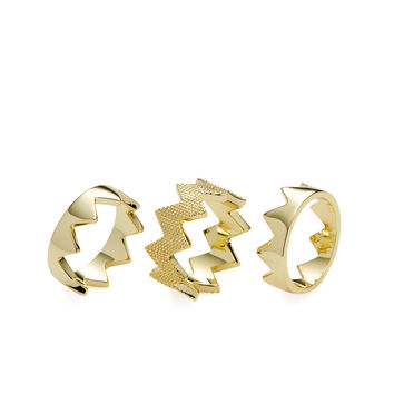 Pixie Grey Women's Zig Zag Stackable Rings (Set of 3) - Gold -