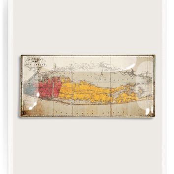 Long Island Travellers Map Decoupage Glass Tray