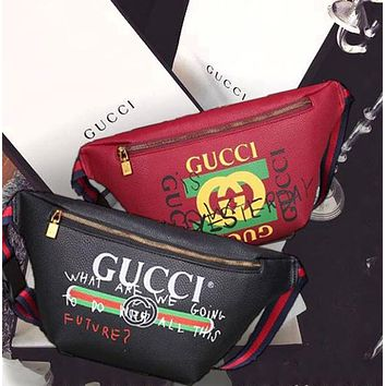 Gucci Waist Bag Belt Bag Fashion Women Leather Print Single-Shoulder Bag Crossbody