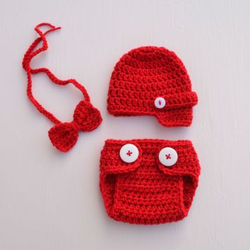 Red Infant Newborn Baby Valentines Outfit Photography Prop