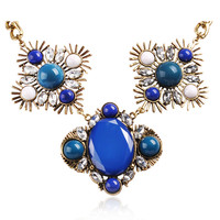 Blue Vintage Trendy Bib Frontal Resin Necklace Party Jewelry