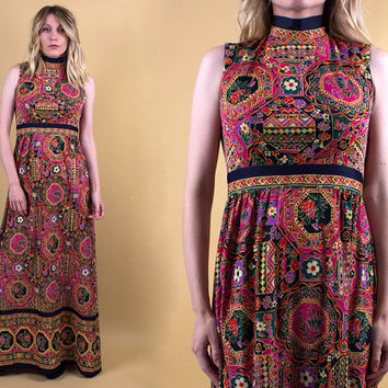 vintage 70s floral empire waist maxi dress pink abstract geometric bohemian goddess boho hippie sleeveless xs S