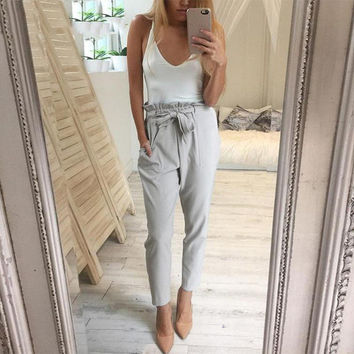 Trousers for women Autumn New Office Lady 2016 Women High waist pants female Fashion Harem Pants Ladies Casual Trousers