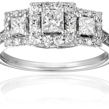 1 Carat IGI Certified 14k White Gold Princess-Cut Diamond Engagement Ring