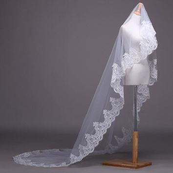 Long Cathedral Wedding Veils Beaded Bridal Veils With Crystals Wedding Accessories