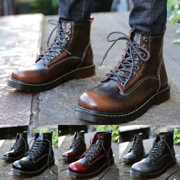 High Quality Leather Men Boots Waterproof Winter Ankle Boots Work Outdoor Boots
