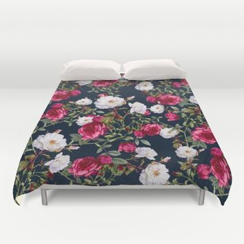Vintage Roses on Darkblue Duvet Cover by VS Fashion Studio