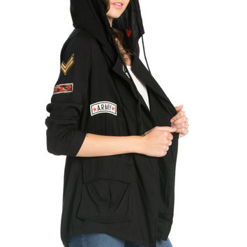 Black Patched Up Hoodie Anorak Jacket
