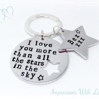 I love you more than all the stars in the sky hand stamped personalised customized keyring keychain