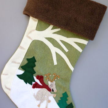 Christmas Stocking: Dear Deer Child Handmade Custom Felt Stocking