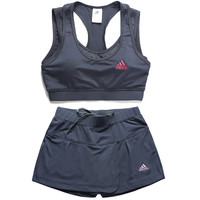 Adidas Gym Sport Yoga Embroidery Print Vest Tank Top Cami Shorts Set Two-Piece Sportswear