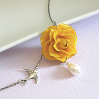 Real Rose Necklace  Yellow Flower Jewelry Natural by mcstoneworks
