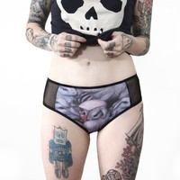 Panel Danger Bunnies and sheer panties - underwear - handmade goth - punk