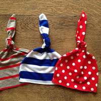 3 Baby knot hats set- red, white and blue -triplets- photo props- newborn- baby- matching hats